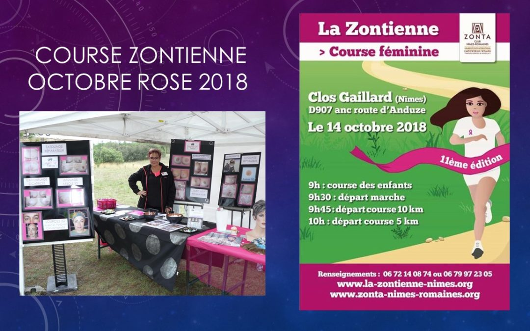 course zontienne octobre rose 2018, maquillage permanent, tatouage reparateur nimes ysabel marignan