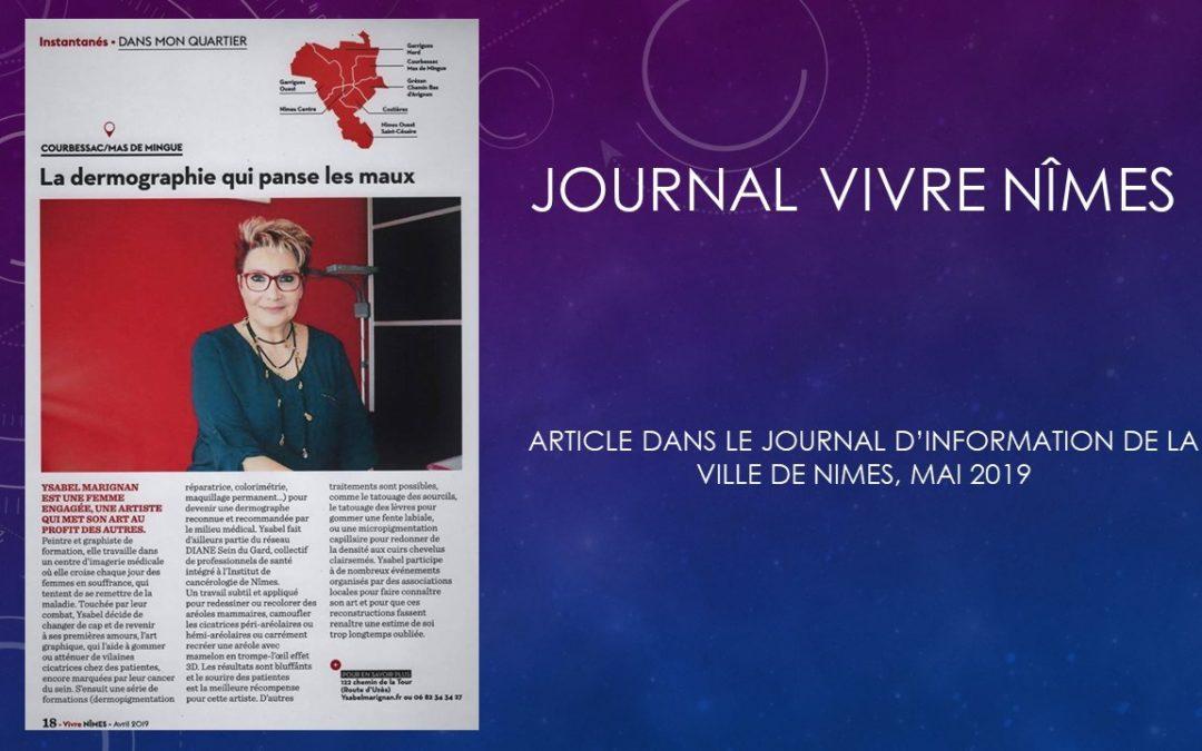 ARTICLE DANS «VIVRE NIMES» Avril 2019