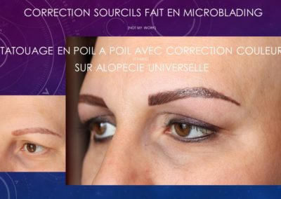 correction couleur par tatouage sourcils post alopécie universelle, sourcils orange sourcils raté correction ysabel marignan nimes