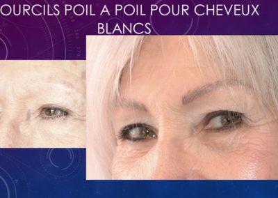 sourcils tatoués pour cheveux blanc ysabel MARIGNAN maquillage permanent Nîmes,Montpellier,Marseille