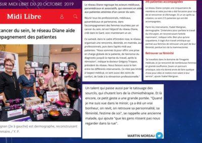Journée à l'ATRIA avec Diane réseau sein du gard octobre 2019 - Article du Midi Libre