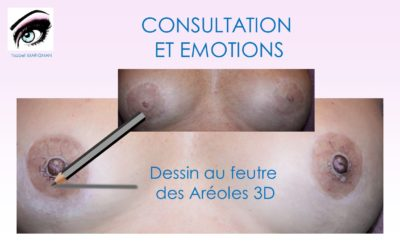 Dessin avant le TATOUAGE des AREOLES 3D POST- CANCER